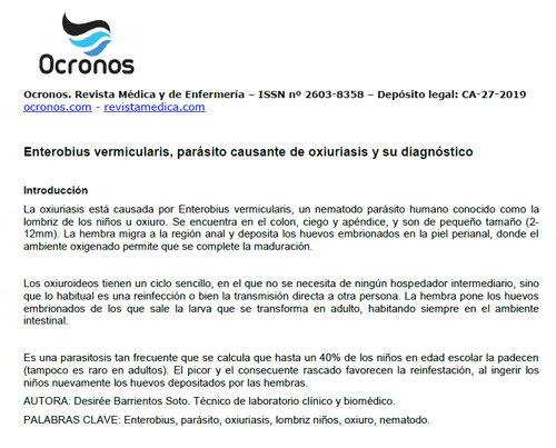 enterobiasis diagnostico laboratorio negi plantare după azot